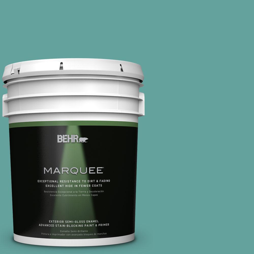 BEHR MARQUEE 5-gal. #M450-5 Aqua Rapids Semi-Gloss Enamel Exterior Paint