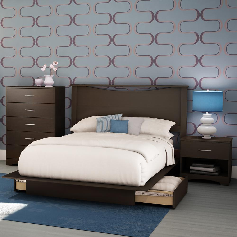 South Shore Step One 4 Piece Chocolate Full Bedroom Set