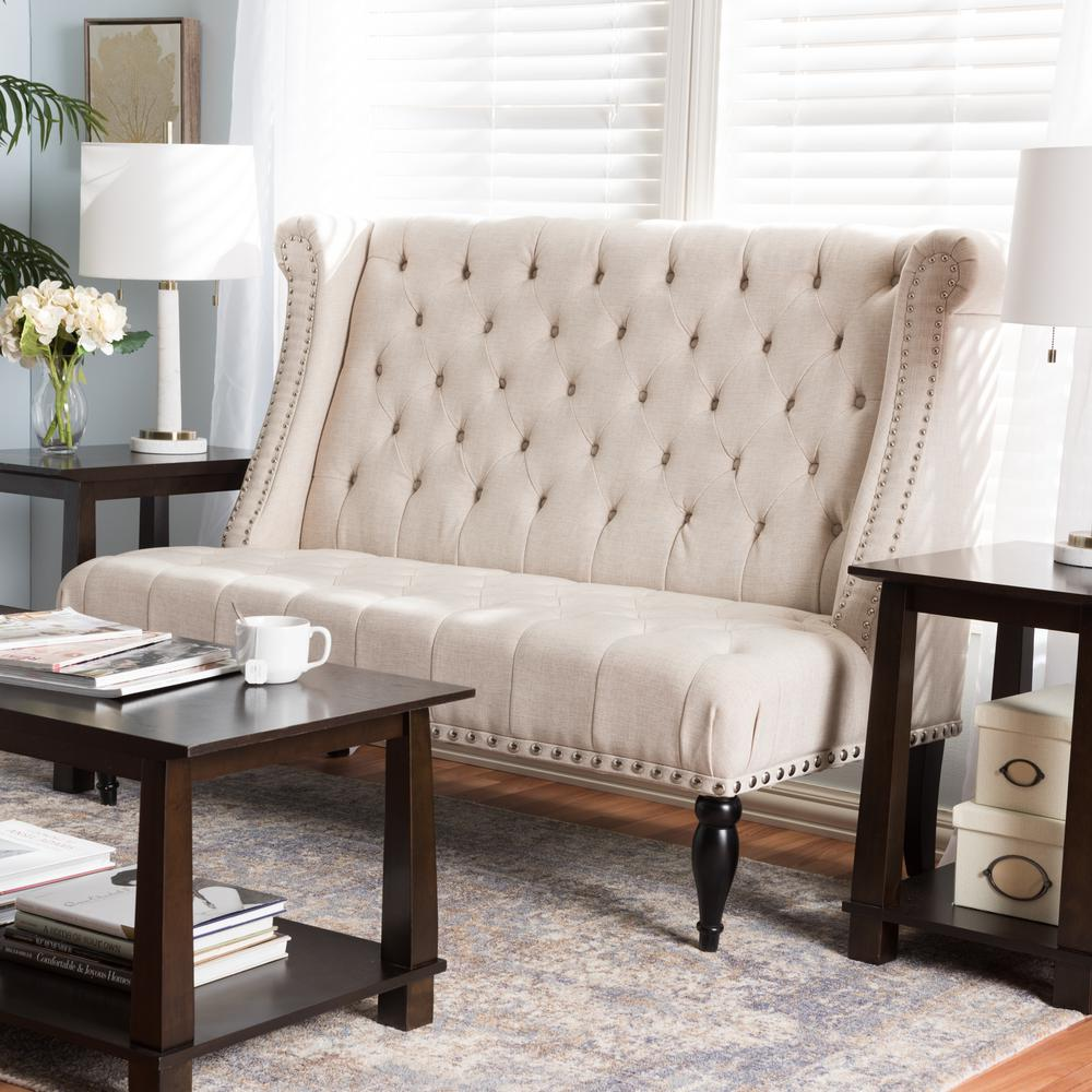 Swaffield Traditional Beige Fabric Upholstered Loveseat
