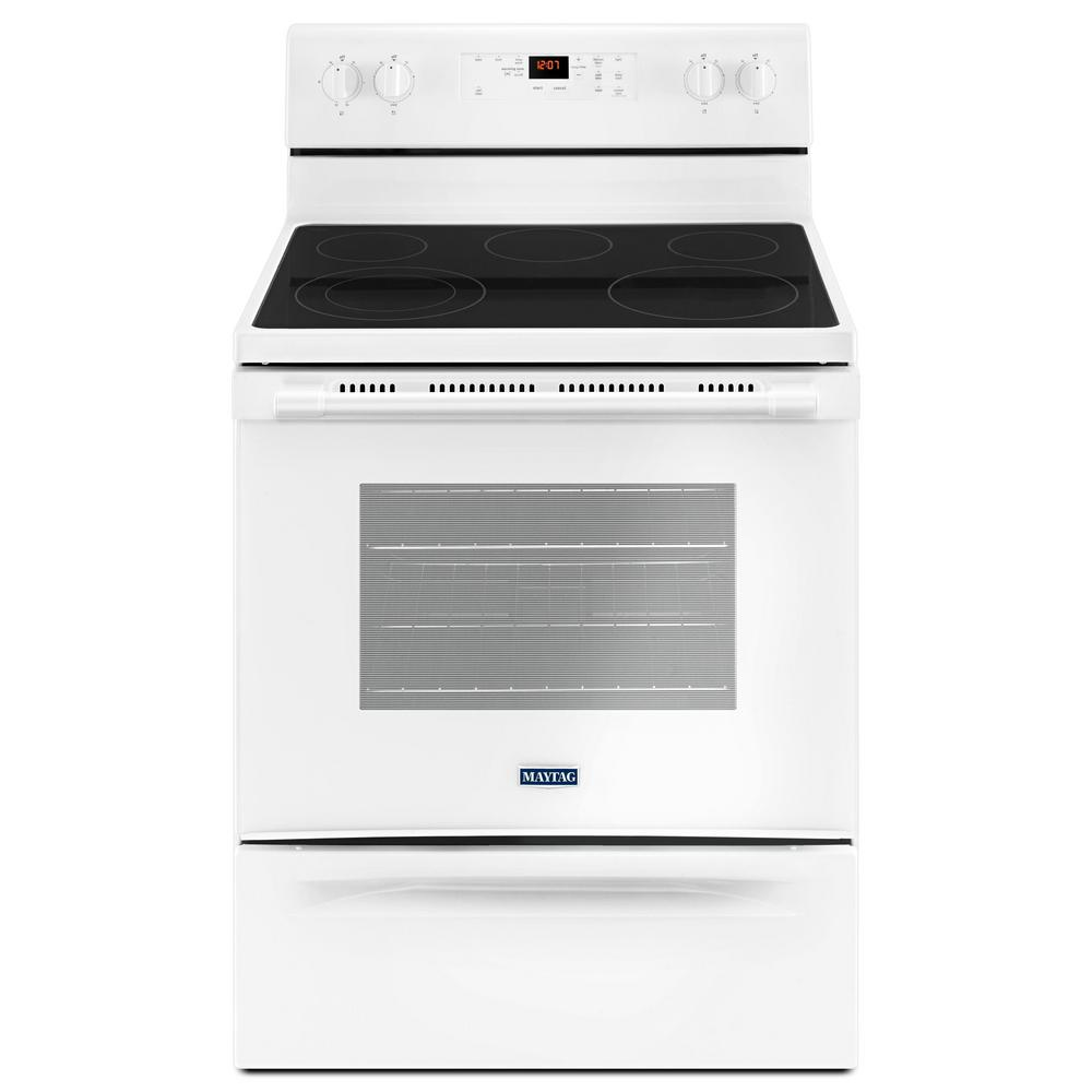 Marvelous Maytag 30 In. 5.3 Cu. Ft. Wide Electric Range With Shatter Resistant Cooktop  In White MER6600FW   The Home Depot