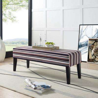 Connect Upholstered Fabric Bench in Stripe