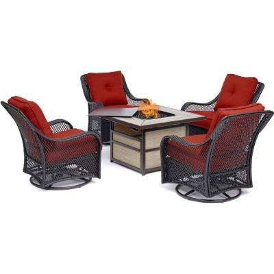 Orleans 5-Piece Wicker Patio Seating Set with Autumn Berry Cushions and Fire Pit