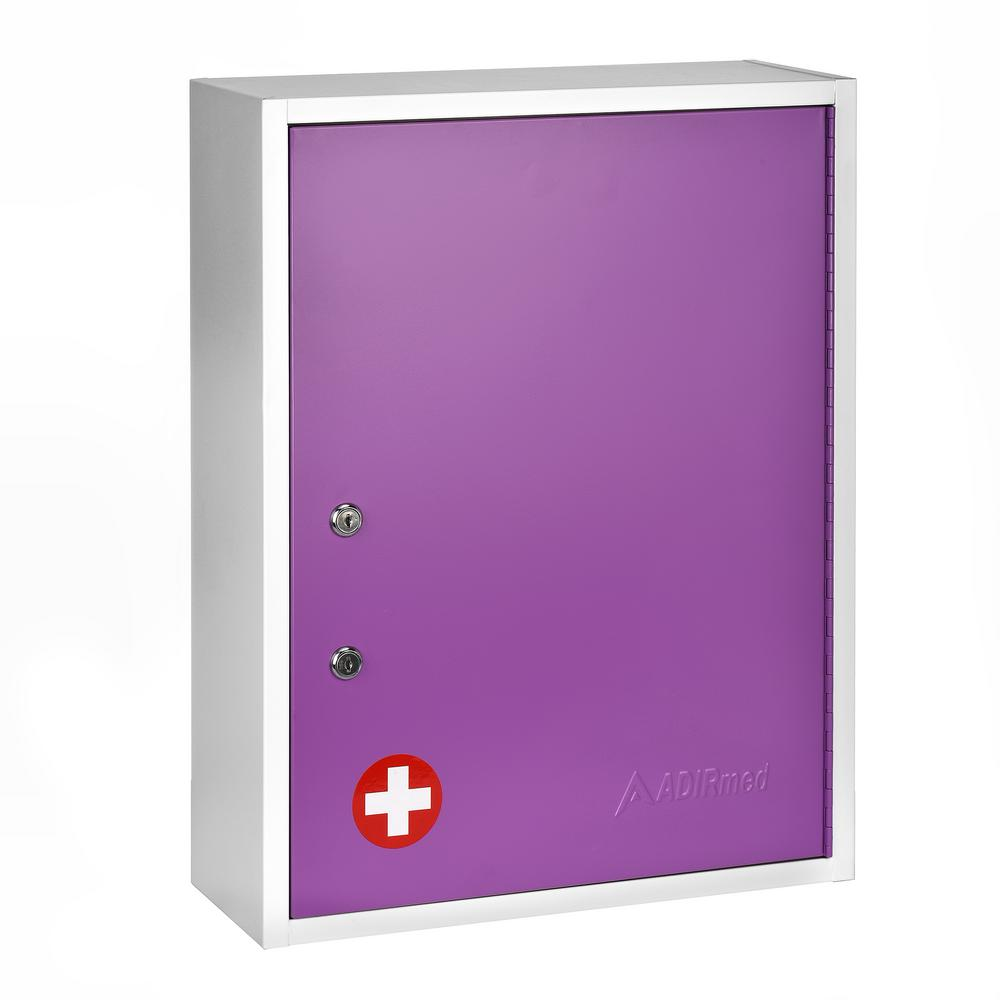 AdirMed 21 in. H x 16 in. W x 6 in. D Large Dual Lock Surface-Mount Medical Security Cabinet in Purple