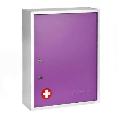 21 in. H x 16 in. W x 6 in. D Large Dual Lock Surface-Mount Medical Security Cabinet in Purple