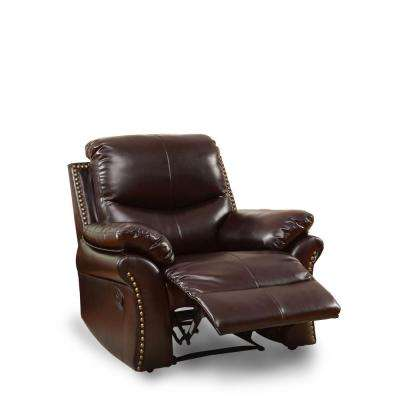 Harpo Rustic Dark Brown Leatherette Recliner Chair