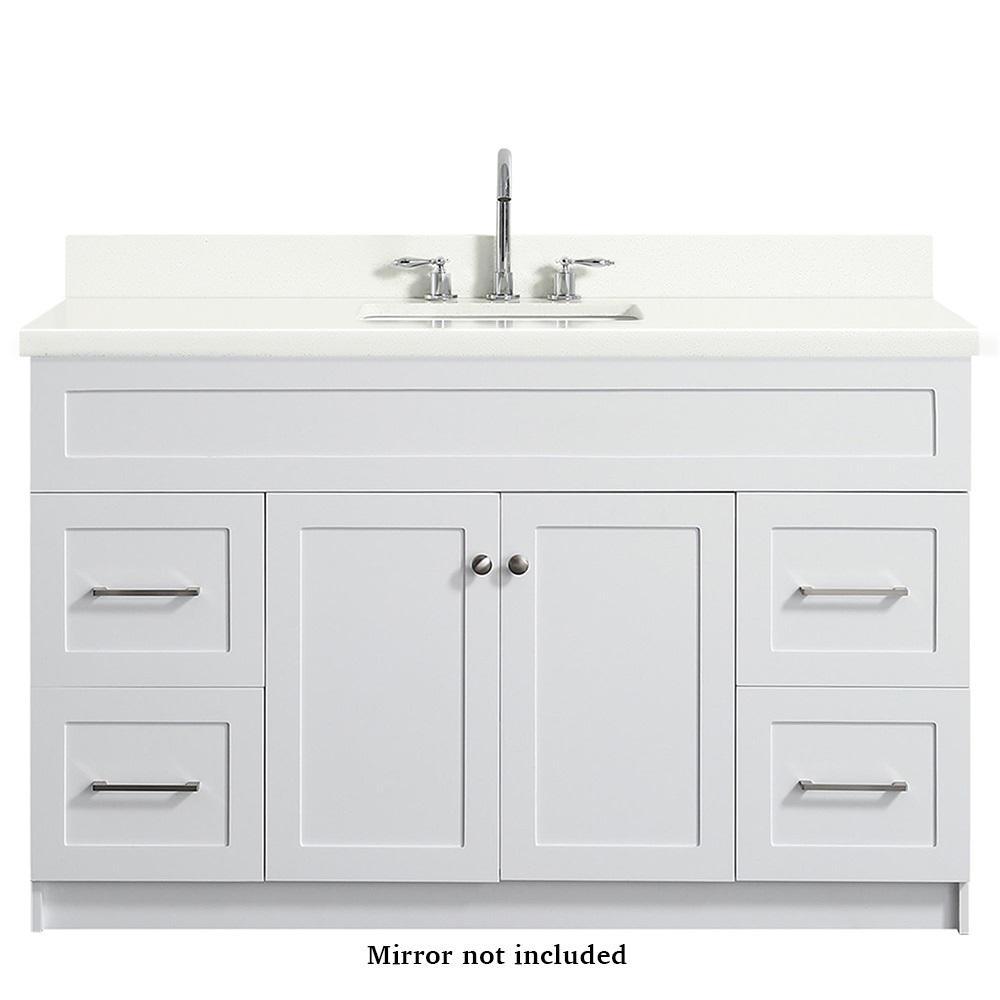 Hamlet 55 in. Bath Vanity in White with Quartz Vanity Top in White with White Basin