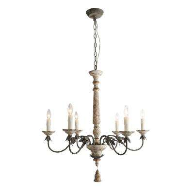 6-Light Distressed White Wood French Country Chandelier