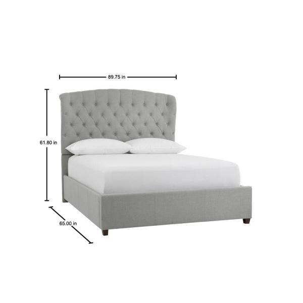 Home Decorators Collection Cecilia Willow Green Upholstered Queen Bed With Wingback Detail 89 75 In W X 61 8 In H 2435bqrw The Home Depot