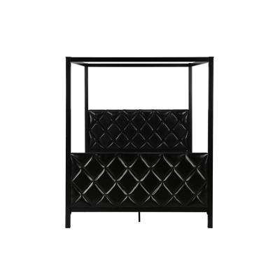 Avenue Green Alford Premium Modern Queen Size Upholstered Canopy Bed Frame in Black