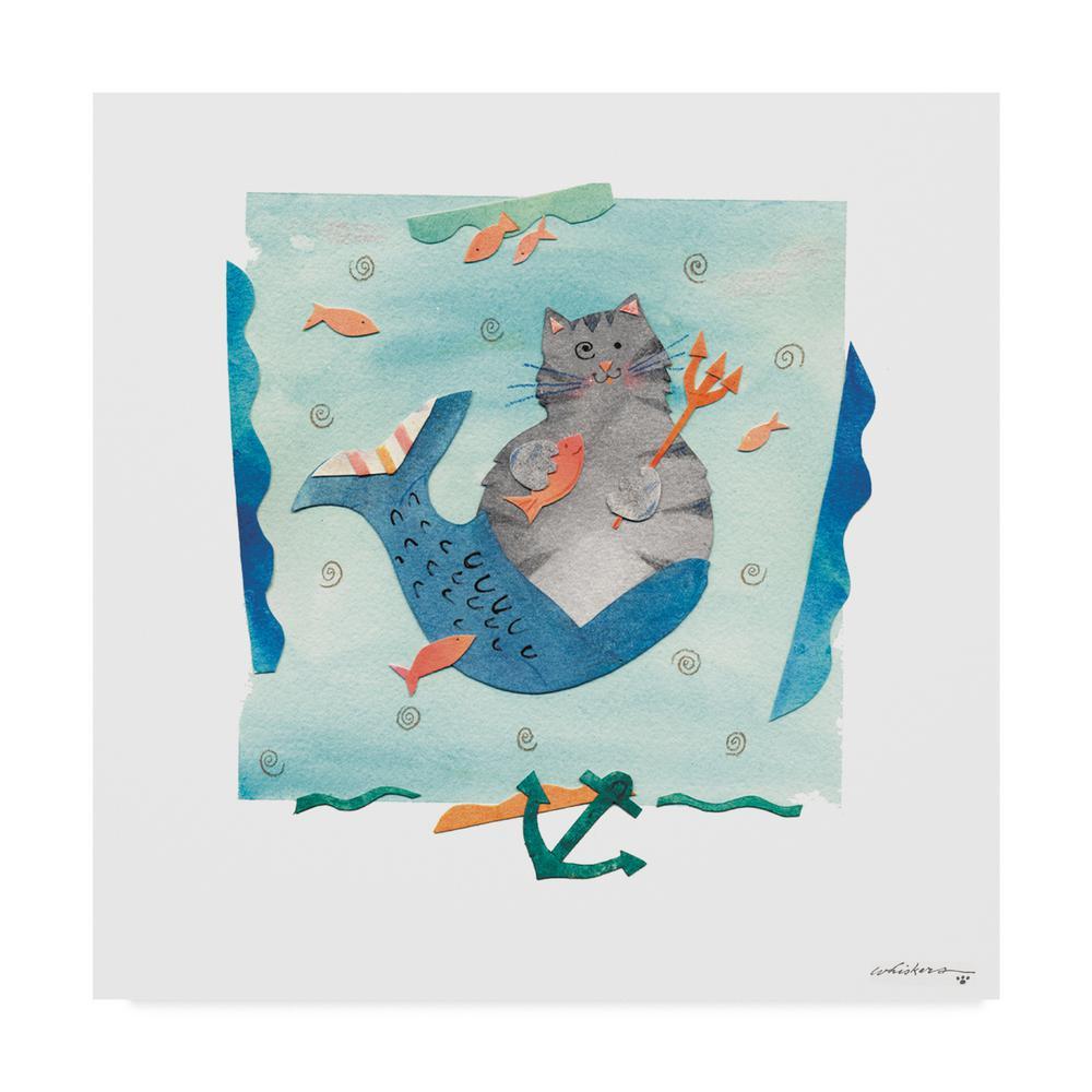 24 in. 24 in. Whiskers Studio 'Tabby Mermaid' Canvas Wall Art