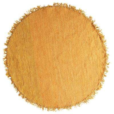 Mustard Yellow 5 ft. x 5 ft. Round Area Rug with Fringe