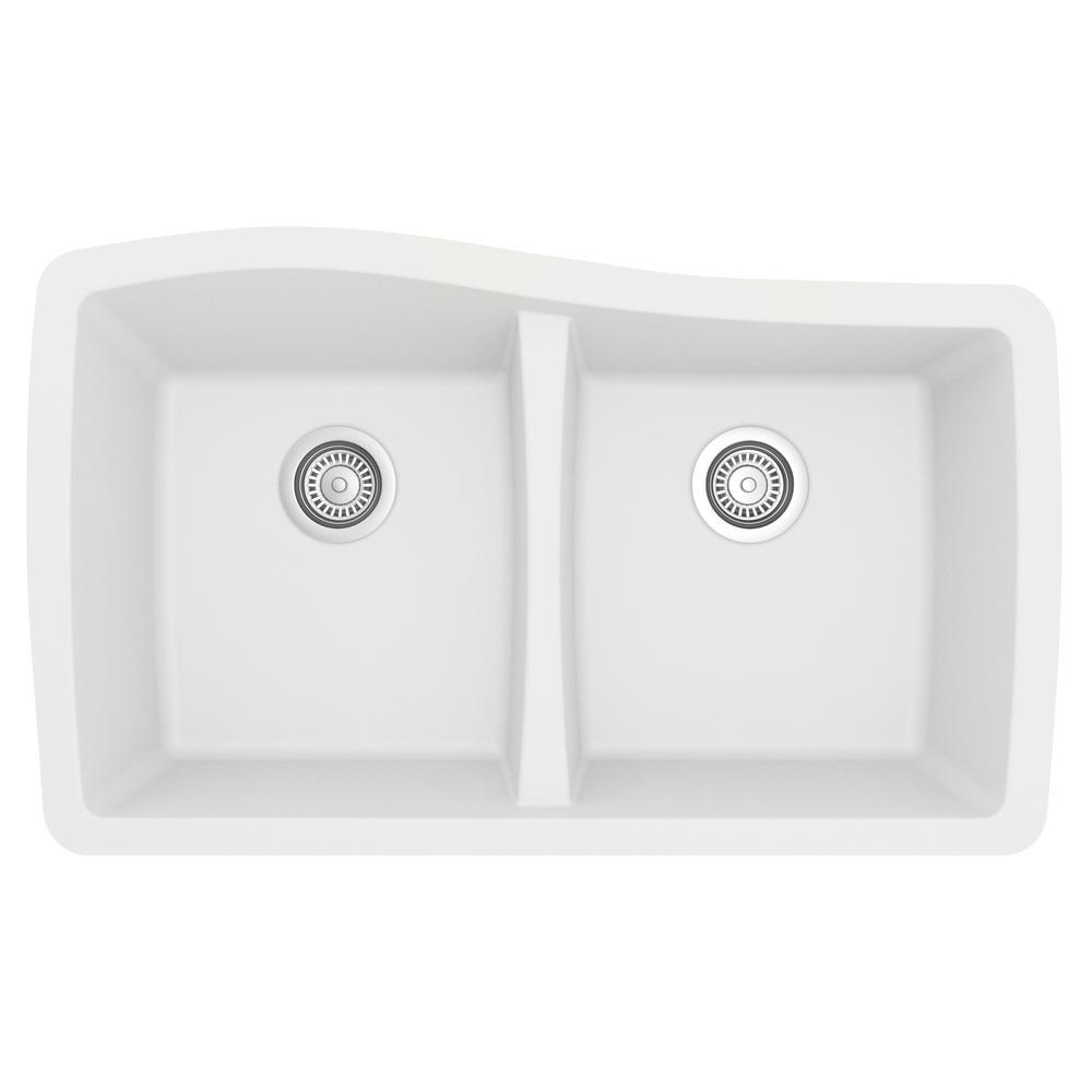 Undermount Quartz Composite 33 in. 50/50 Double Bowl Kitchen Sink in White
