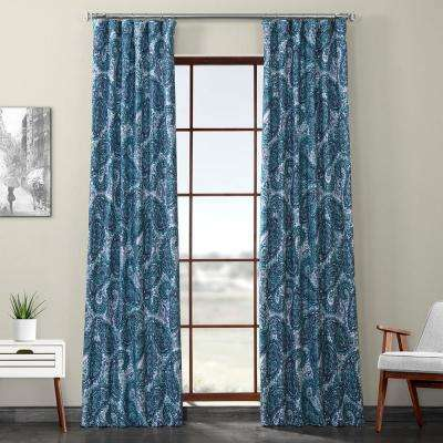 Naples Aqua Blue Printed Linen Textured Blackout Curtain - 50 in. W x 120 in. L (1-Panel)
