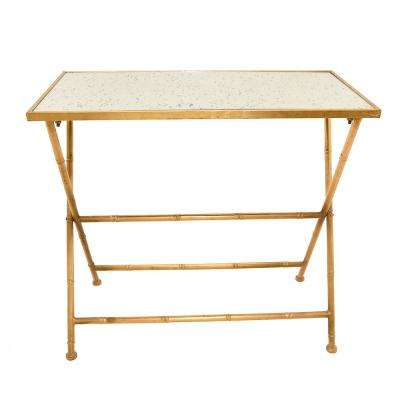 Gold Metal/Glass Side Table
