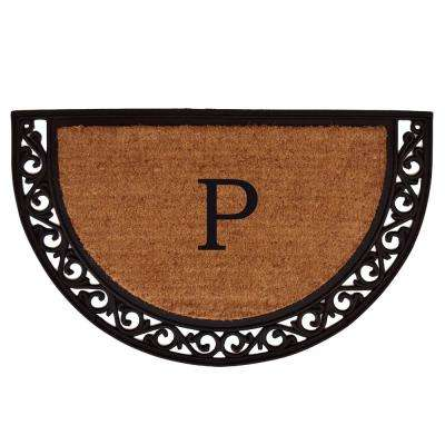 Ornate Scroll 24 in. x 36 in. Monogram P Door Mat