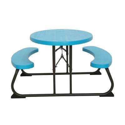 Oval 1-Piece Glacier Blue Kids Picnic Folding Table