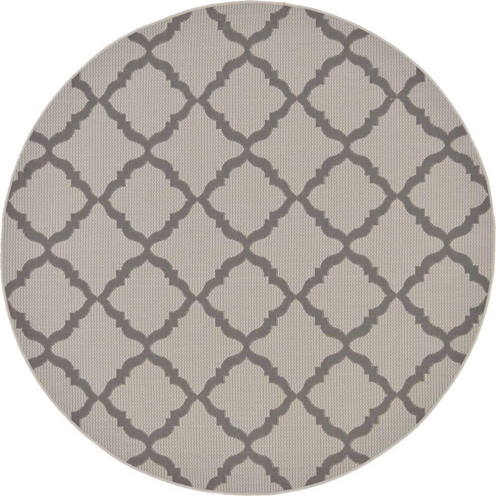 Unique loom outdoor gray 6 x 6 round indoor outdoor rug