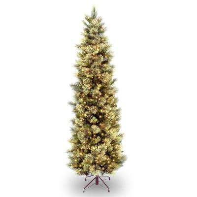 7 ft. Carolina Pine Slim Tree with Flocked Cones and Clear Lights