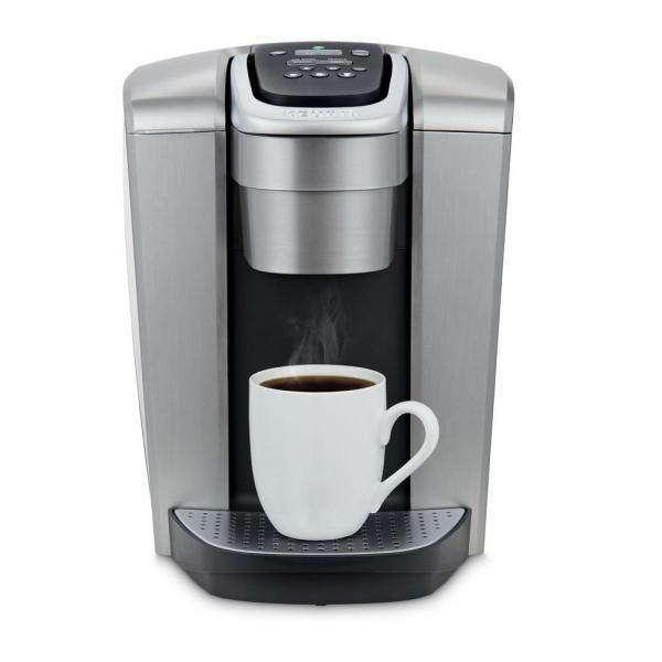 K-Elite Brushed Silver Single Serve Coffee Maker with Temperature Control