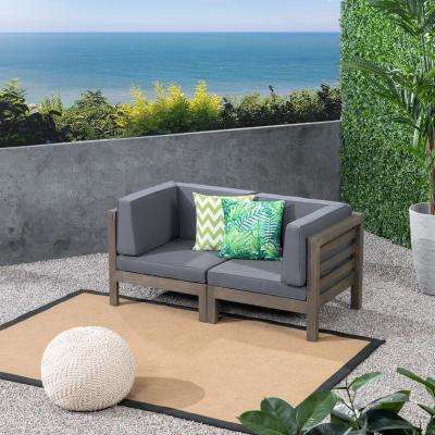 Jonah Gray Wood Outdoor Loveseat with Dark Gray Cushions