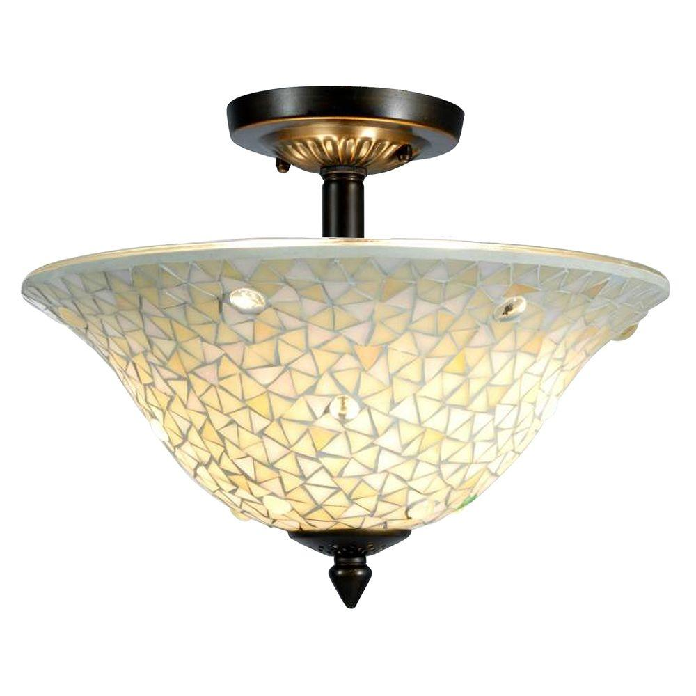 Springdale Lighting Mosaic Clear 3 Light Antique Br Ceiling Flush Mount
