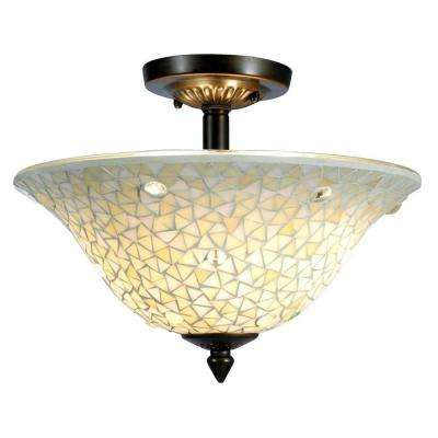 Mosaic/Clear 3-Light Antique Brass Ceiling Flushmount