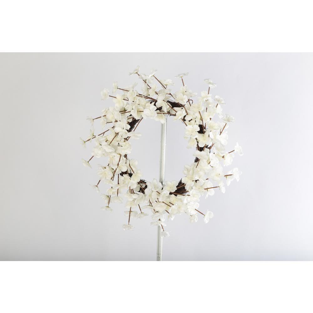 20 White Cherry Blossom Twig Wreath