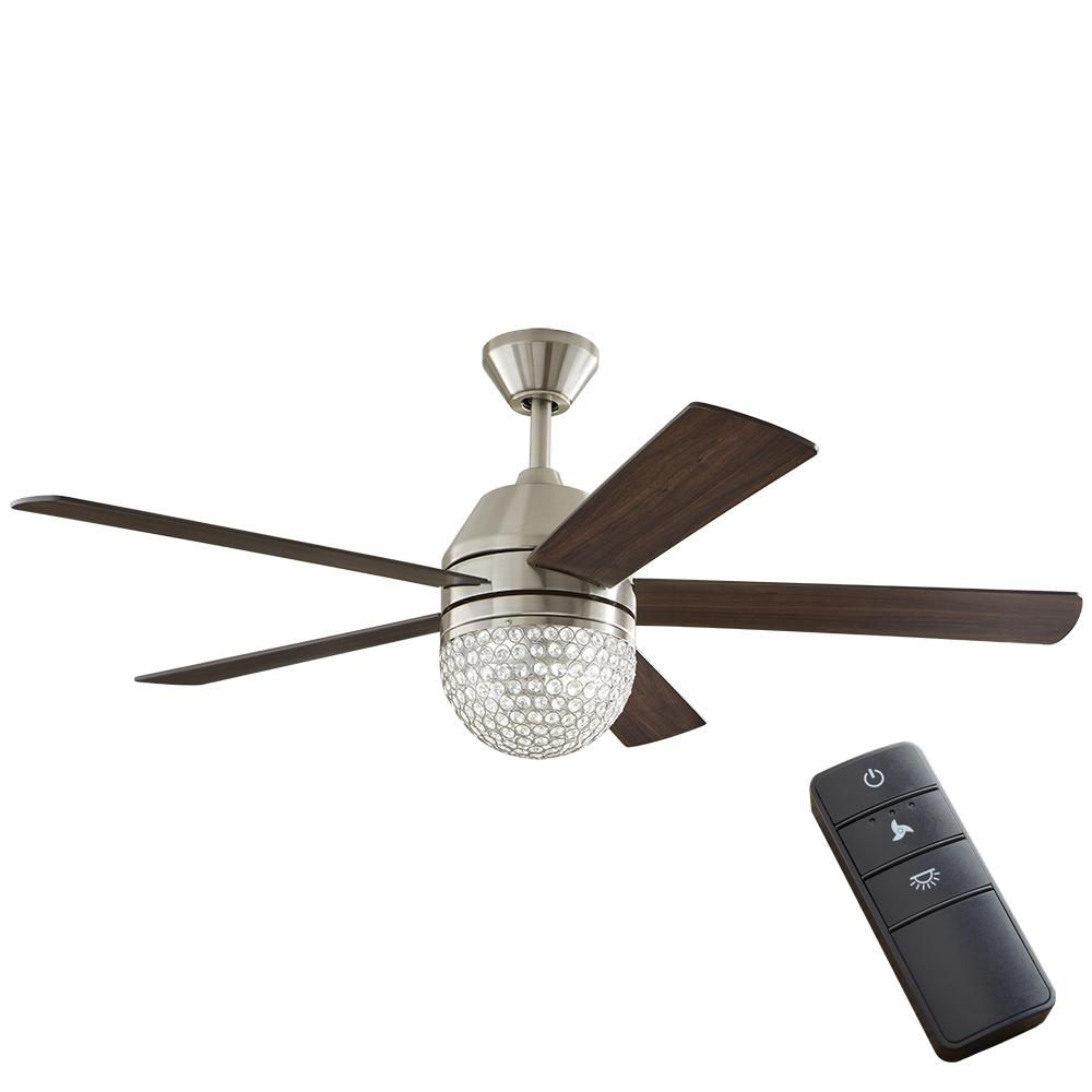 Home Decorators Collection Vendome 52 In Led Brushed Nickel Ceiling Fan With Light And Remote Control 51880 The Home Depot