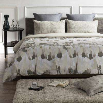 Safari Wrinkle Resistant Reversible Print 100% Organic Cotton Brown/Beige Queen Duvet Cover Set