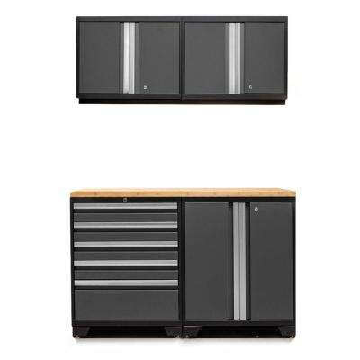 Pro 3.0 85 in. H x 56 in. W x 22 in. D 18-Gauge Welded Steel Bamboo Worktop Cabinet Set in Gray (5-Piece)