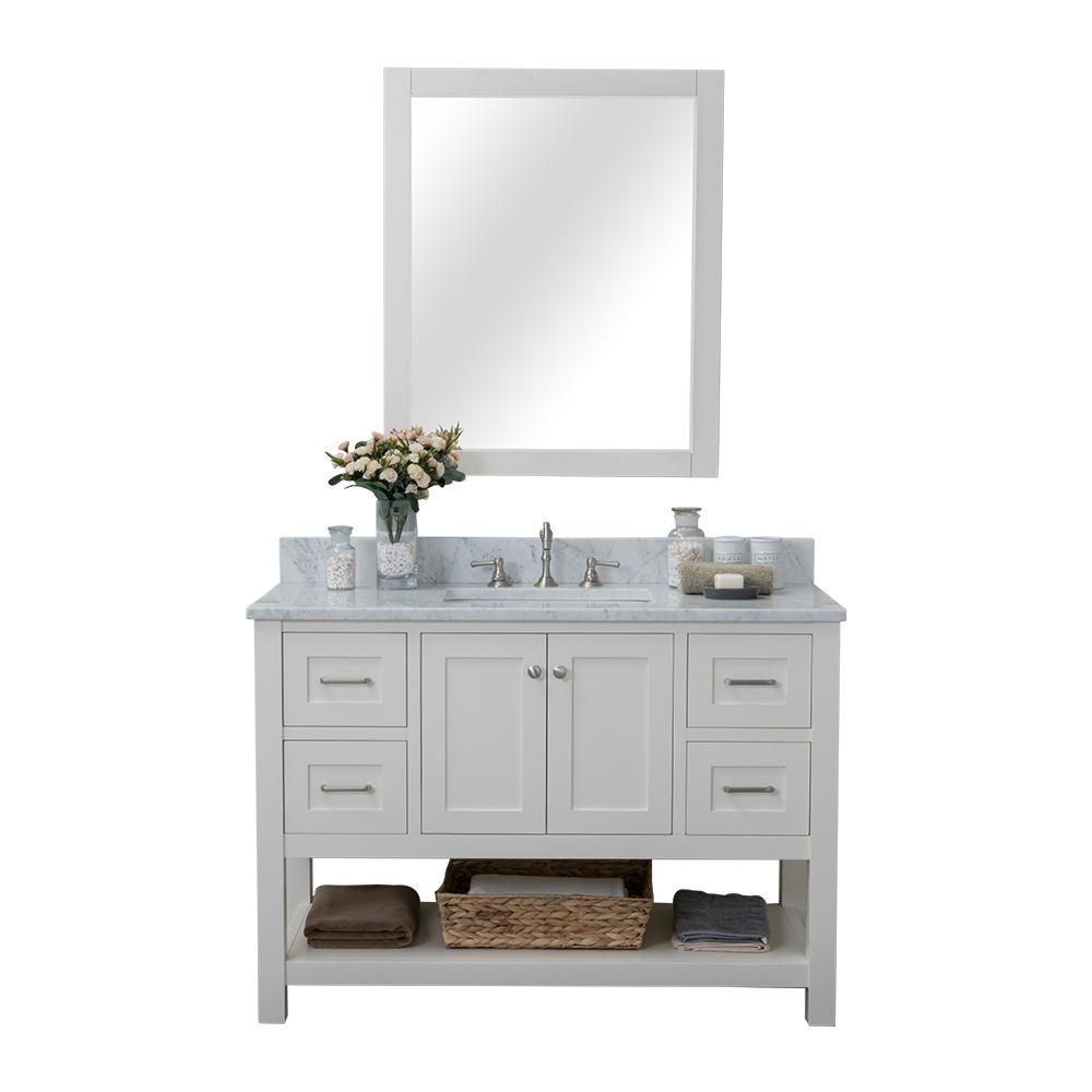 Alya Bath Wilmington 48 in. W x 34.2 in. H x 22 in. D Bath Vanity in White with Marble Vanity Top in White with White Basin