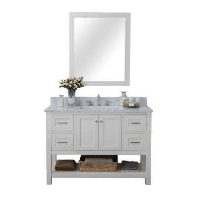 Wilmington 48 in. W x 34.2 in. H x 22 in. D Bath Vanity in White with Marble Vanity Top in White with White Basin