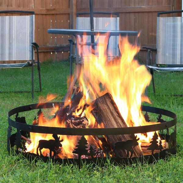 Sunnydaze Decor 36 In Round Steel Wood Burning Wild Moose Fire Pit Kit Sm Frm101 The Home Depot