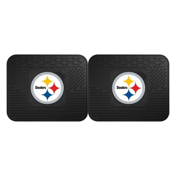 NFL Pittsburgh Steelers Black Heavy Duty 2-Piece 14 in. x 17 in. Vinyl Utility
