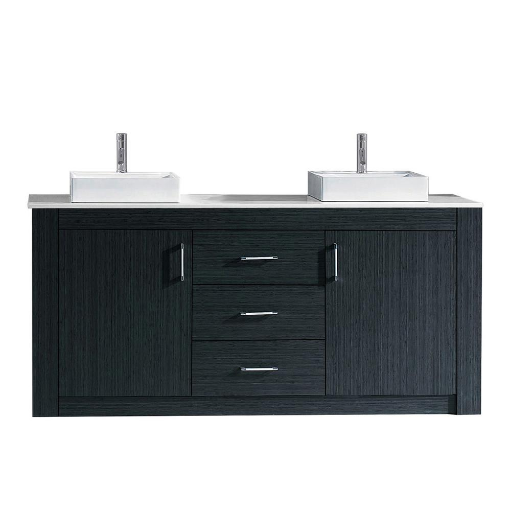 Virtu USA Tavian 72 in. W x 22 in. D Double Vanity in Gray with ...