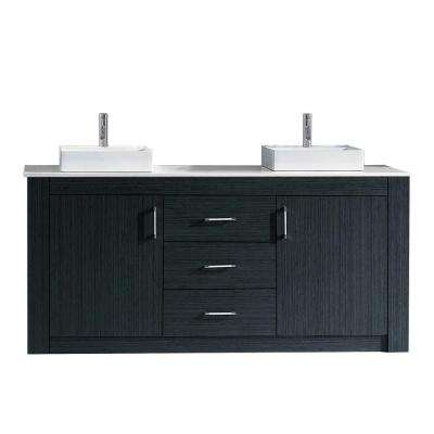Tavian 72 in. W x 22 in. D Double Vanity in Gray with Stone Vanity Top in White with White Basin with Faucet