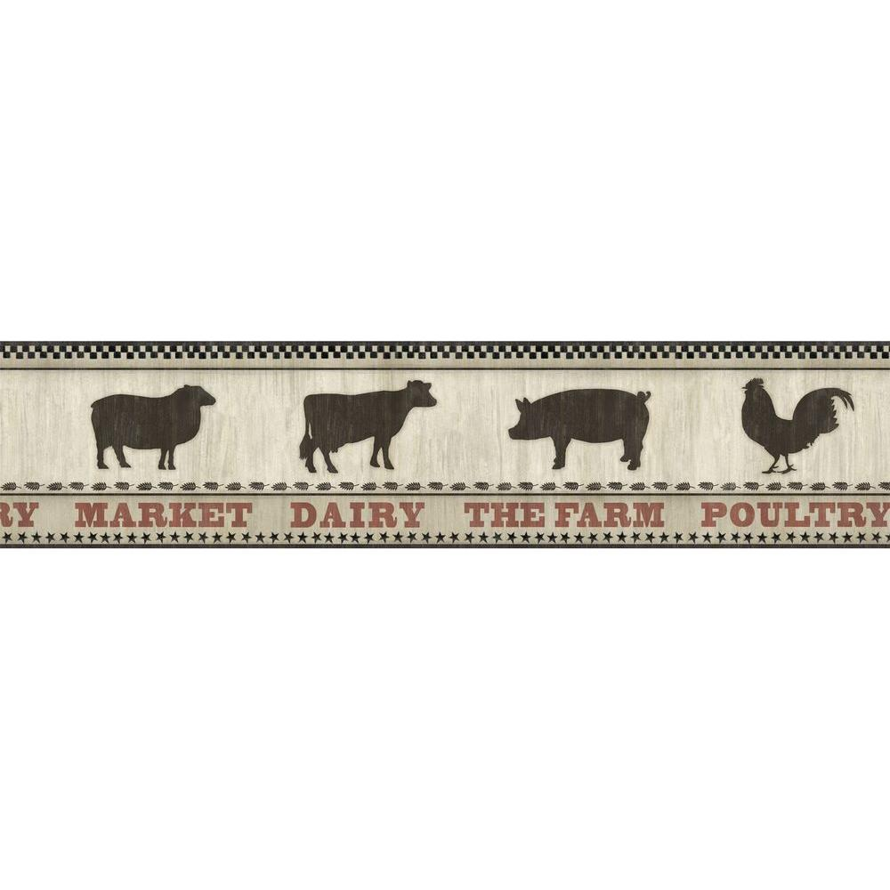 Grace Black Farmers Market Wallpaper Border Sample