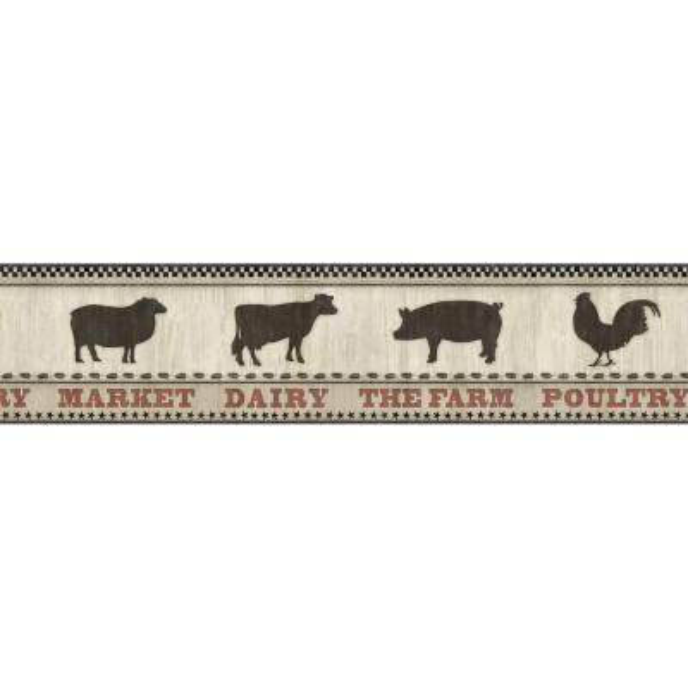 Grace Black Farmers Market Wallpaper Border Sample