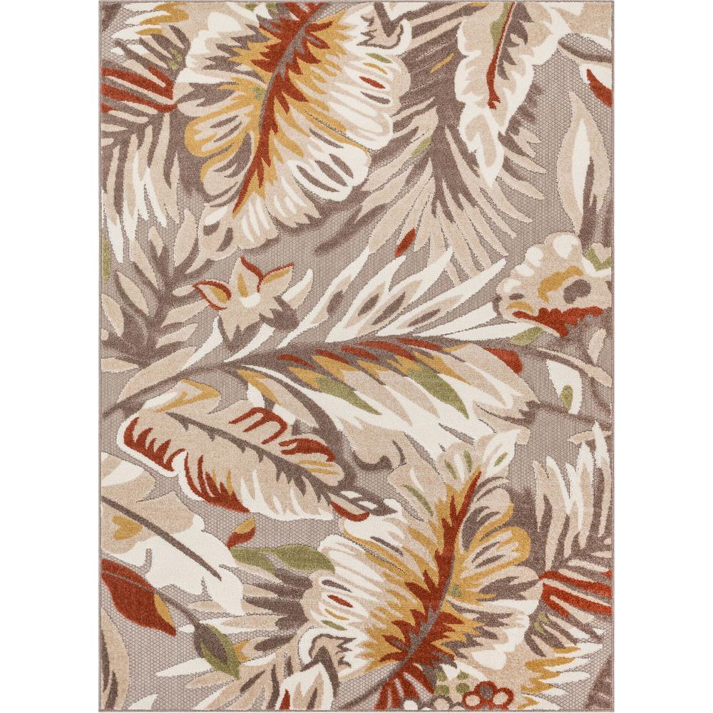Dorado Wilmington Beige Modern Tropical Leaves Hight-Low Indoor/Outdoor 5 ft. 3 in. x 7 ft. 3 in. Area Rug