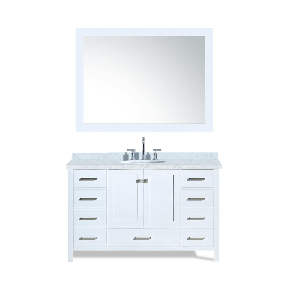 Ariel Cambridge 55 in. Bath Vanity in White with Marble Vanity Top in Carrara White with White Basin and Mirror