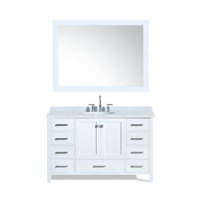 Cambridge 55 in. Bath Vanity in White with Marble Vanity Top in Carrara White with White Basin and Mirror