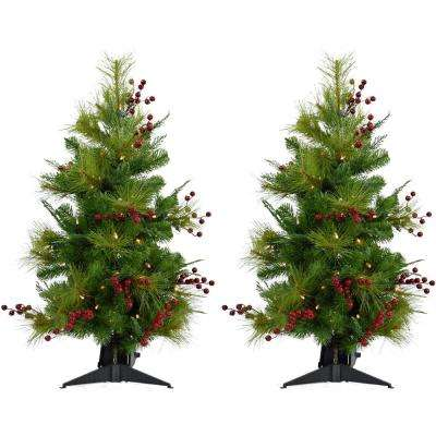2.4 ft. Newberry Pine Artificial Trees with Battery-Operated LED String Lights (Set of 2)