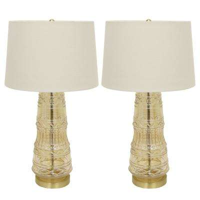 Embellished Glass 27.5 in. Clear Amber Table Lamps with Shade (Set of 2)