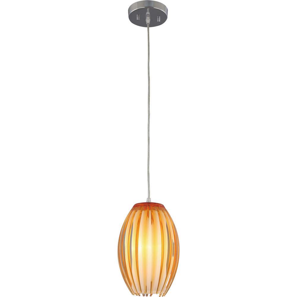 1-Light Brushed Nickel Amber Acrylic Flower Bud Outer Shade Hanging Mini Pendant, White Cased Glass Cylinder Inner Shade