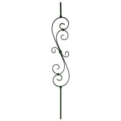 44 in. x 7-1/2 in. Matte Black Metal Scroll Baluster