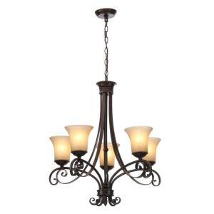 Hampton Bay Essex 5-Light Aged Black Chandelier with Tea Stained Glass Shades by Hampton Bay