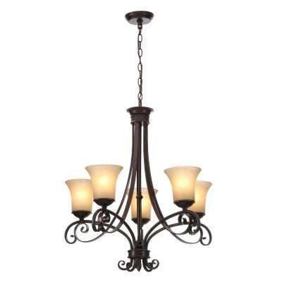 Essex 5-Light Aged Black Chandelier with Tea Stained Glass Shades
