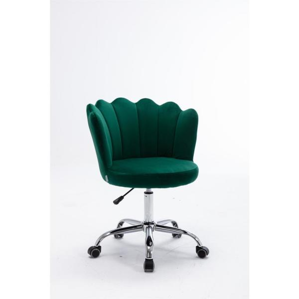Lucky One Cozy Green Velvet Swivel Shell Office Chair Height Adjustable Accent Chair With 360 Castor Wheels Cm 201 Gr The Home Depot