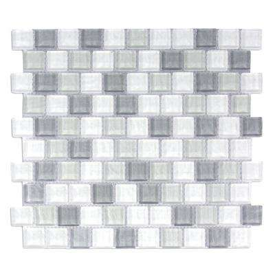 Geo Monte Sagro Gray Square Mosaic 1 in. x 1 in. Textured Glass Wall and Pool Tile (0.84 Sq. ft.)