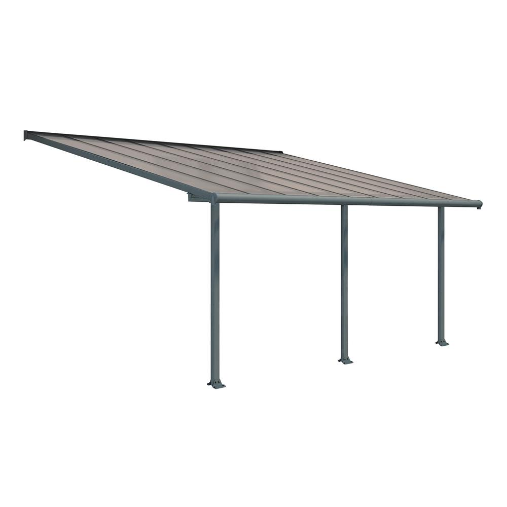 Palram Olympia 10 Ft X 18 Ft Grey Bronze Patio Cover Awning 704574